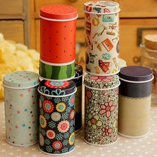 1 piece Lovely Gifts Cylindrical Cartoon Tin Box Candy Box Receive Box Store Content Metal Storage Boxes Style Random(China)