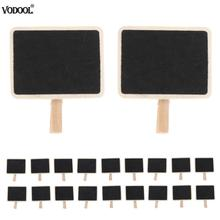 VODOOL 20pcs Exquisite Blackboard Mini - Message Board Original Wooden Note Clip Durable DIY Wood Crafts For Marked stationery.(China)