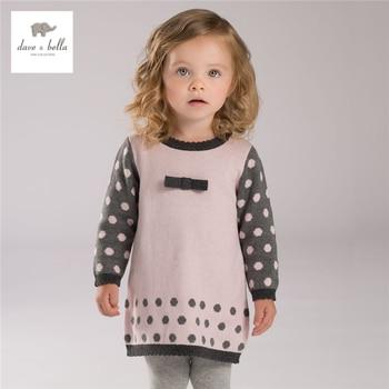 DB4113 dave bella automne automne bébé fille rose points jacquard conceptions robe mignon rose robe textile coton laine robe