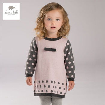 DB4113 dave bella outono baby girl pink dots jacquard projetos vestido rosa bonito vestido de algodão têxtil vestido de lã