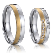 promise couple rings wedding bands sets gold color titanium steel jewellery designs 2016(China)