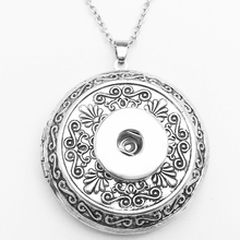 New Retro copper photo frame Lockets Pendants snap button Necklace ( fit 18mm 20mm snaps ) NR7777(China)