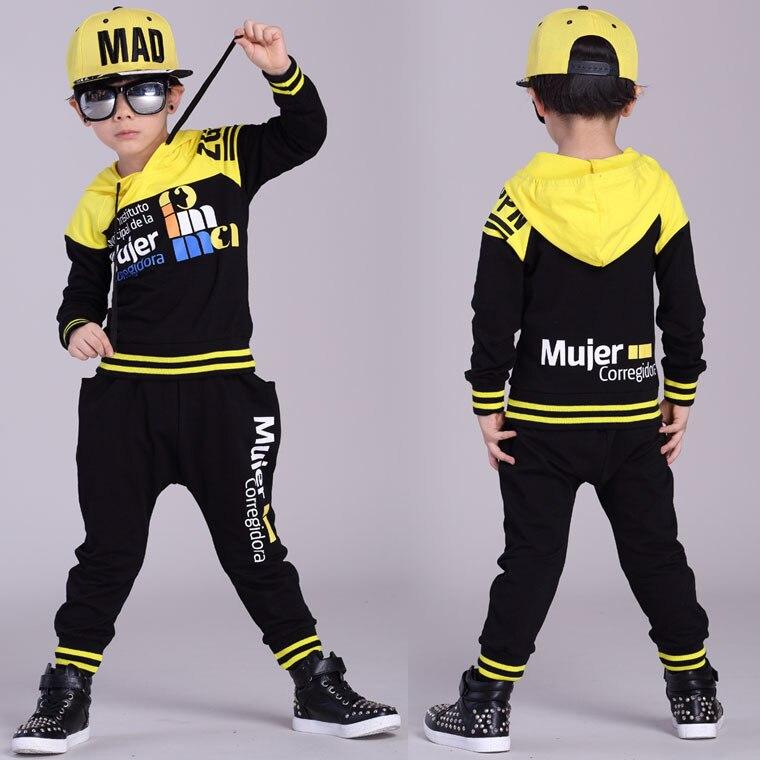Fashion Spring Autumn childrens clothing set Black Yellow Costumes kids sport suits patchwork Hip Hop dance pant &amp; sweatshirt<br><br>Aliexpress