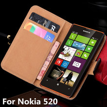 N520 for Microsoft NOKIA Lumia 520 Flip Luxury Case Split Leather Phone Protective Sleeve Cards With Stand black Nokia520(China)
