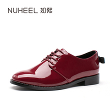 New nuheel office lady flats lace up retro women shoes black red wine suqare toe grade school loafers casual students solid