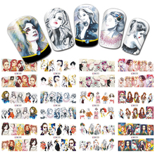 SWEET TREND 12 Designs Charming Nail Art Beauty Girl Nail Sticker Water Transfer Fashion Full Cover Wraps LABN265-276