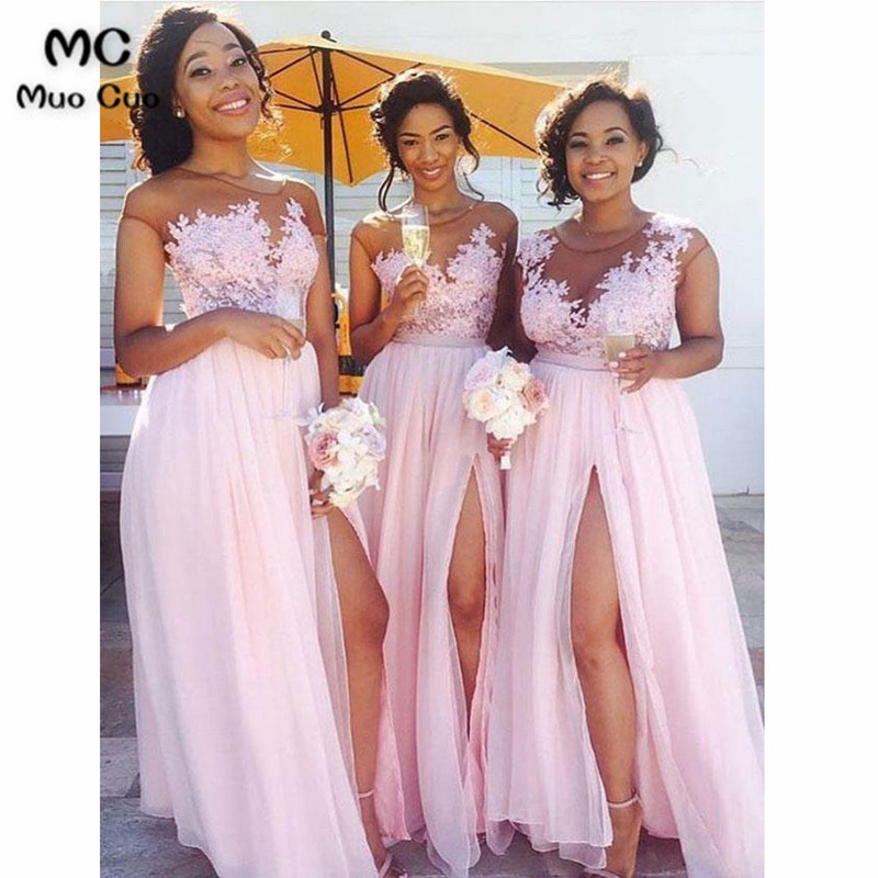 Lace Appliqued Bodice Pink Chiffon Long Mismatched Bridesmaid Dresses with Slit