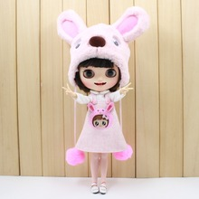 free shipping for blyth doll icy licca cute clothes pink dog set bear suit bag stocking hat lovely 1/6 30cm(China)
