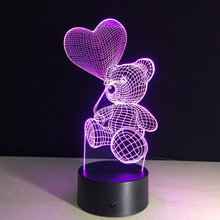 Romantic Cute Bear Led 3D Night Light With Heart USB Multicolor Changing Table Lamps For Girls Valentine's Birthday Gifts
