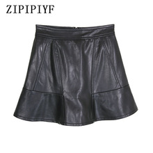 Buy ZIPIPIYF Women Faux Leather Sexy Skirt Large size S-XXL Mini Skirt Female Solid Color Flared Pleated Short Skater 2017 for $23.48 in AliExpress store