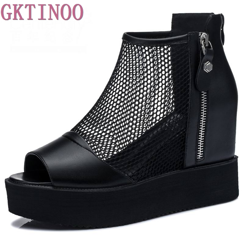 Womens Platform Sandals Thick Bottom Peep Toe Genuine Leather Summer Shoes Height Increasing Fashion Sandals For Woman<br>