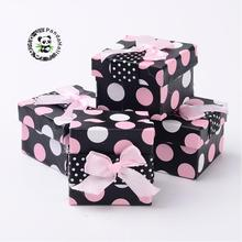 30pcs 5x5cm Valentines Day Cardboard Jewelry Gift Packaging Boxes, Ring Packing Boxes, Polka Dots Pattern, Square, Black