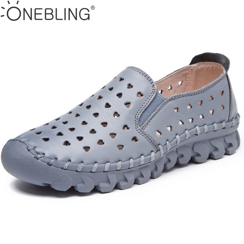 4 Colors Genunie Leather Sandals 2017 Summer Hollow Out Breathable Soft Women Flat Shoes Spring Fashion Sewing Shoes Loafers<br>