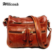 Wilicosh Brand Genuine Leather Women Messenger Shoulder Bag 100% real leather Vintage Female Cross-body Soft Shopping Bags WL380
