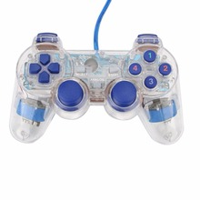 New Transparent LED Wired USB Gamepad Handle Game Console Game Controller Double Vibration For PC Computer Laptop Gaming Gift