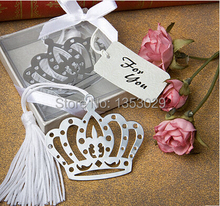 Free Shipping 24pcs/lot Mini Silver Metal Bookmark with White Silk Tassel Baby Shower Favor Gifts Wedding Favors Bookmark Gifts(China)