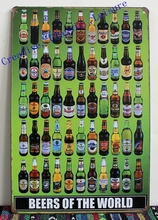 Free shipping beers of the world tin sign metal wall art , beer sign for home bar pub wall decor , beer poster 30x20cm