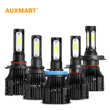 Auxmart S5 H1 H3 H4 H7 H11 COB LED Headlight 8000lm 72w 6500K Car Front Bulb Dipped High Beam Fog Lamp All-in-one 9005 9006 9007