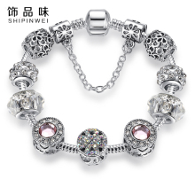 Silver Plated Simulated Crystal Four Leaf Clover Charm Bracelet Clear Murano Glass Beads Bracelet Bangle for Women DIY Jewelry