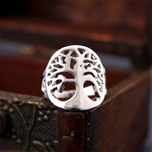 High Quality Silver Plated Tree Of Life Charms Finger Rings For Woman Girls Wedding Party Jewelry Gift(China)