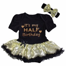 Baby Girl Gold Sparkle It's My Half Birthday Black Sequin, Glitter Pink Shorts Sleeves Bodysuit Tutu and Headband 0-18M