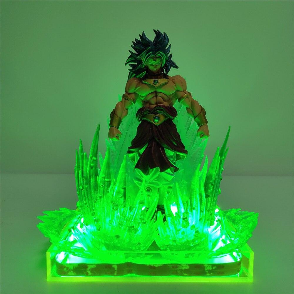 Dragon Ball Super Broly Broli Action Figures Green Effect Scene Anime Dragon Ball Lamp Goku Broly Figure Model Toys Gift Figura
