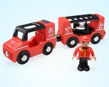 Police car Fire engine Ambulance car Scene toy combination Compatible Thomas wood track with Figures