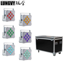 Free Shipping 6pcs/lot Flight Case Packing 9x18w 6in1 RGBWA UV Battery Wireless Led Par Stage Light Black/White Case Optional(China)