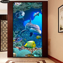 5d DIY diamond embroidery painting dolphin cross stitch diamond mosaic animal Full resin round rhinestone home decor Pshiny F435