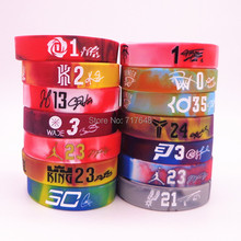 1pc Kyrie Irving Lebron James Jordan Kevin Durant Derrick Rose Tim Duncan wristband silicone bracelets free shipping(China)