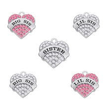 my shape 5pcs Zinc Alloy Rhodium Plated BIG SIS LIL SIS Sister Clear Pink Crystal Heart Pendant Charm for diy necklace bracelet(China)