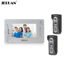 JERUAN 7`` video door phone intercom  system video doorphone doorbell speaker intercom recording photo taking 1 indoor 2 outdoor
