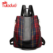 4adabbb1e600 Casual School Bags For Teenage Girls Large Capacity Canvas Backpack Retro  Stylish Travel Bag Plaid Striped