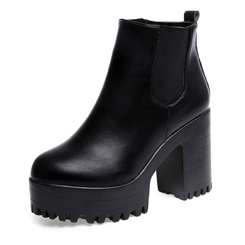 Women Shoes Black High Heels Boots Lacing Platform Ankle Boots Chunky Size 35-39 Brand Designers 2016 New Spring Autumn<br><br>Aliexpress