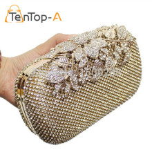 TenTop-A Free Shipping Both Side Diamond Flowers Leaf Crystal Evening Clutch Bag Hot Styling Clutches Lady Wedding Purse YGH1270(China)