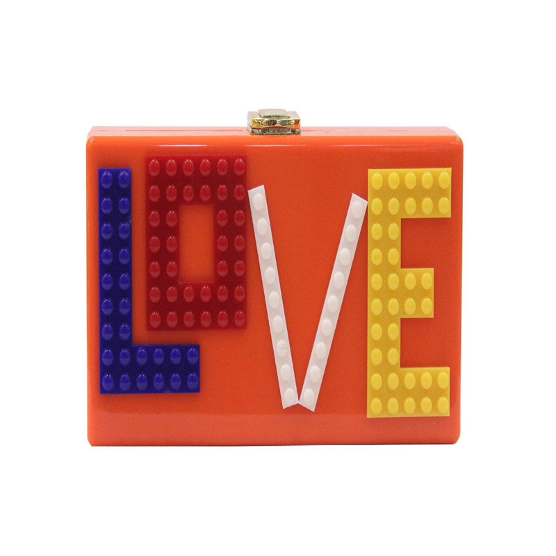 Letter LOVE Design Women Evening Bag Black Color Box Luxury Clutches Purse Evening Bags Acrylic Handbags<br>