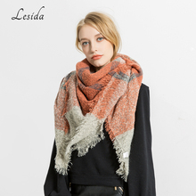 LESIDA Plaid Scarf Women Winter Thick Warm Cashmere Pashmina Triangle Neck Kerchief Scarf Female Tassel Ecahrpes 135*130CM 3438(China)