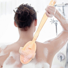 Best 1Pc Natural Long Wood Handle Bristle Body Brush Massager Bath Shower Back Spa Scrubber Body Bath Brush(China)