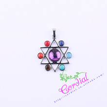 7 Chakras Reiki Stones Pendants Health Amulet Healing Chakra 3D Symbols Stone Charms Star Pendant Fit Necklace # CDDP-701038(China)