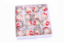 2.5cm Noctilucent billiard-ball-keychain  /white&red /Decoration Pool game CUE ball black 8