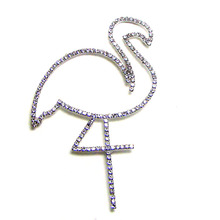 Clear rhinestone flamingo charm pin brooch fashion ornament jewelry mobile phone glue on sewing on DIY decorative accessory