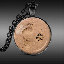 Dog Lovers Necklace, Best Friends Necklace, Footprints, Love, Heart, Dog Paw Prints Image Pendant Handmade J