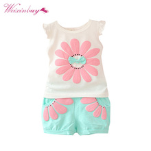 Toddler Baby Girls Summer Clothing Sets Bow Sunflower Vest Shirt + Shorts Kids Outfits 1-4Y(China)