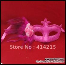 2016 Hot Wholesale Venetian Style Hot Pink Feather Party Mask for Sexy Lady