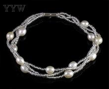YYW Freshwater Cultured Pearl Bracelet fashion women, Glass Seed Bead, with Freshwater Pearl, iron screw clasp
