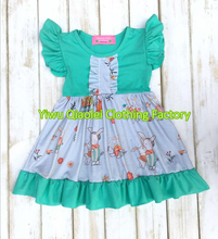 Wholesale cute baby summer  fashion baby girl easter dress rabbit with flower design kids dress