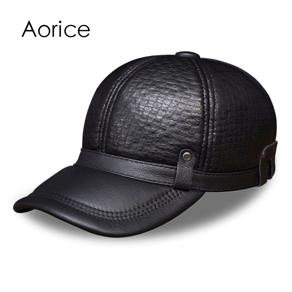 HL070 Mens genuine leather baseball cap brand new style winter warm Russian real leather black caps mens hats<br>