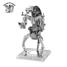 3 D Metal Puzzles Miniature Model DIY Jigsaws Cartoon Model Silver Gift for Children Star Wars Destroyer Droid(China)