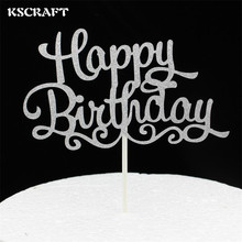 KSCRAFT Sliver Happy Birthday Party Cake toppers picks decoration for Kids Birthday party Cake favors Decoration supplies