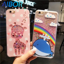 Cute cartoon sequins glitter liquid quicksand balaenoptera musculus blue whale rainbow giraffe cat case For Iphone 6 6S 7 PLUS
